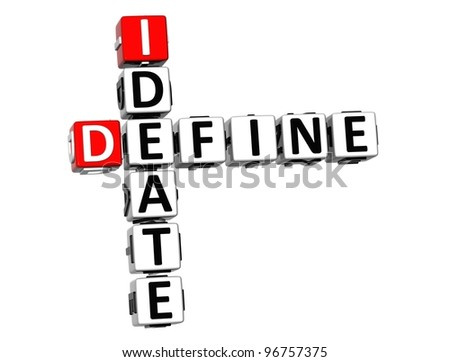 3D Define Ideate Crossword cube words on white background - stock photo