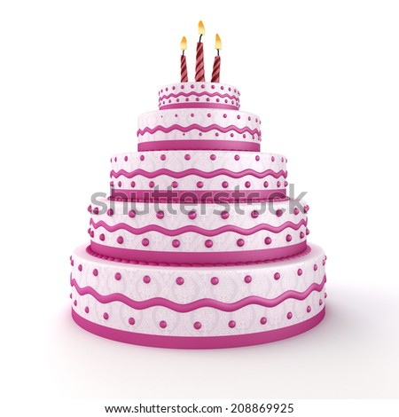 3d delicious cake on white background