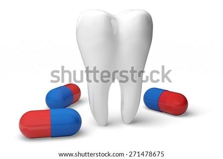 3D. Dentist, Human Teeth, Toothbrush. - stock photo