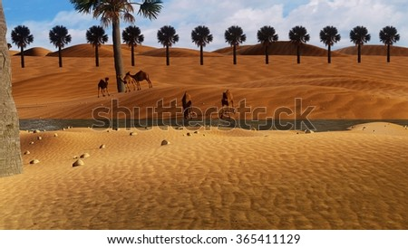 3D desert in a huge Sahara scene. Camels standing in a sand desert with palm trees by sunset light while one camel is drinking water. - stock photo