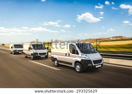 3D design delivery vans on a colorful background - stock photo