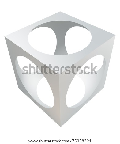 3D design element - cube with cutout sphere. - stock photo