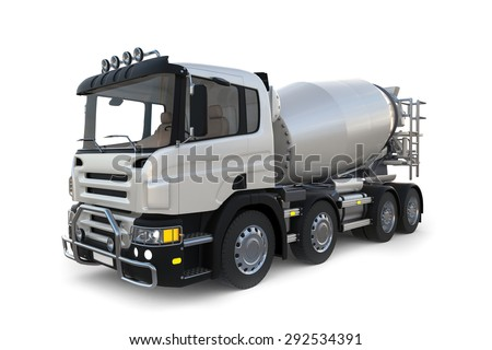 3D design Isolated image of concrete mixer truck on empty white background