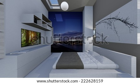 3d design of modern home apartment indoor