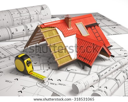 3d design of roofs on a background of drawings - stock photo