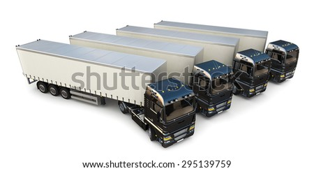 3D design semi-trailer delivery trucks on blank background