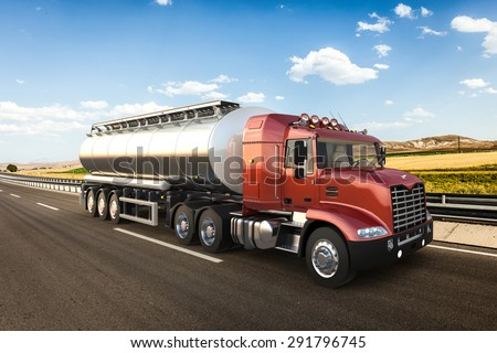 3D design tank truck, tanker truck, tanker with vivid colors - stock photo