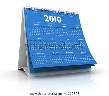 3D desktop calendar 2010 in white background - stock photo