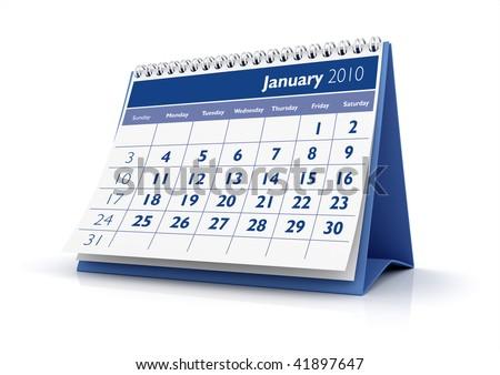 3D desktop calendar January 2010 in white background - stock photo