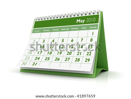 3D desktop calendar May 2010 in white background - stock photo