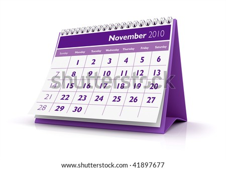 3D desktop calendar November 2010 in white background