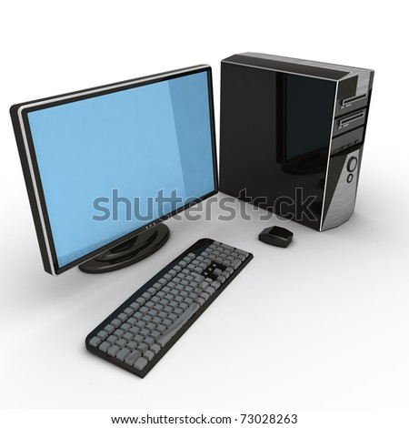 3D Desktop Computer - stock photo
