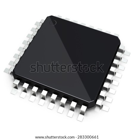 3D detailed blank microchip on white background - stock photo