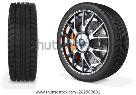 3d detailed car wheel on white background - stock photo