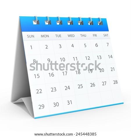 3d detailed desk calendar on white background - stock photo