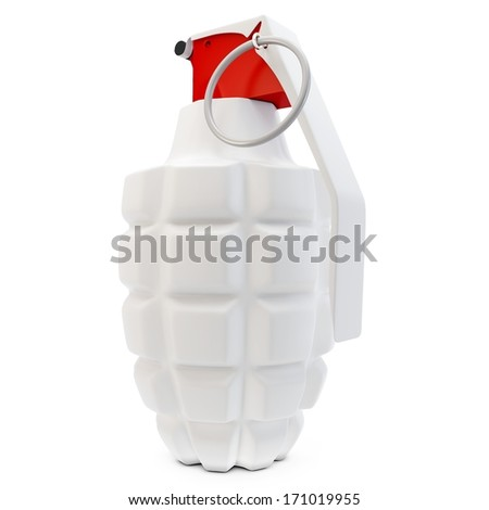 3d detailed  hand grenade on white background - stock photo