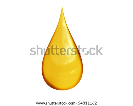 3D detailed illustration of a golden drop of oil - stock photo