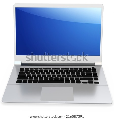 3d detailed laptop on white background