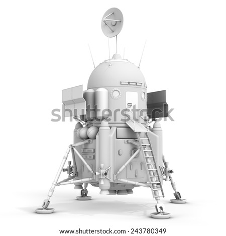 3d detailed lunar landing module on white background - stock photo
