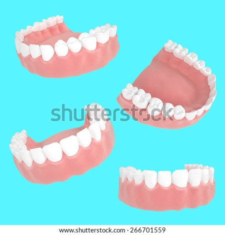 3d detailed set of jaws for dentistry necessary on a blue background - stock photo