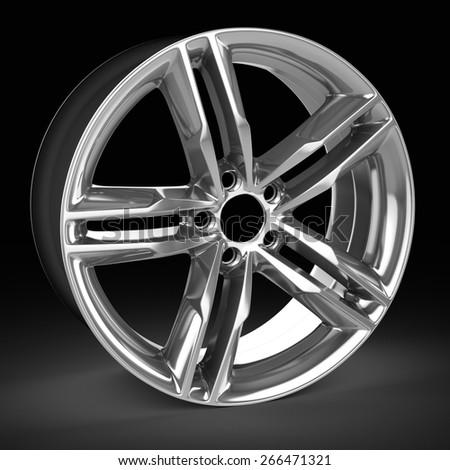 3d detailed wheel rim on black background - stock photo