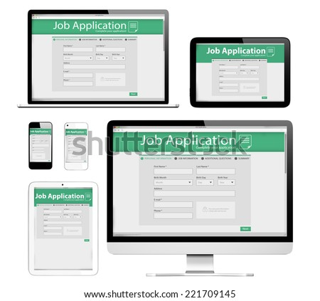 3D Devices with Application Form on the Screen - stock photo