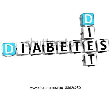 3D Diabetes Diet Crossword on white background - stock photo