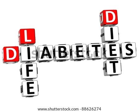 3D Diabetes Life Diet Crossword on white background - stock photo