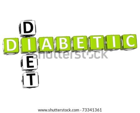3D Diabetic Diet Crossword on white background - stock photo