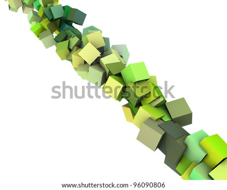 3d diagonal strings of cubes in multiple shades of green - stock photo