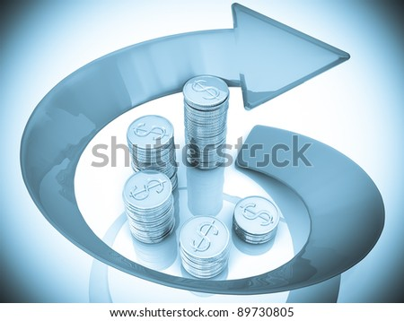 3d diagram of dollar coins with a arrow around - stock photo