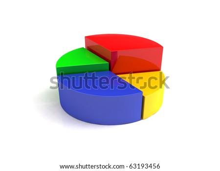 3D  diagram on white background - stock photo