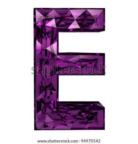 3d diamond font e - stock photo