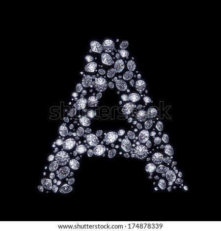 R Alphabet In Diamond 3D Diamond letter A on black isolated with clipping path - stock photo