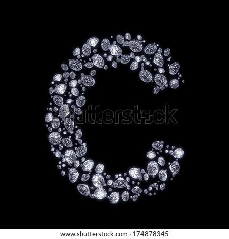 C Letter In Diamond Stunning Beauti...