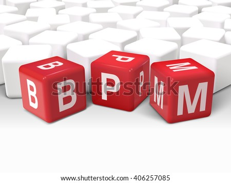 3d dice with word BPM business process management on white background