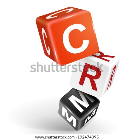 3d dice with word CRM Customer Relationship Management on white background - stock photo