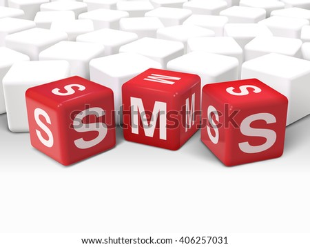 3d dice with word SMS short message service on white background - stock photo