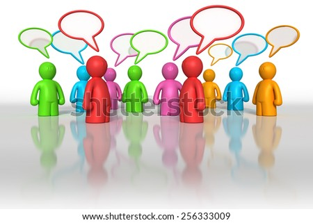 3d different colors men with textboxes, background - stock photo