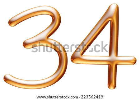 3D digit in gold metal texture and isolated of background