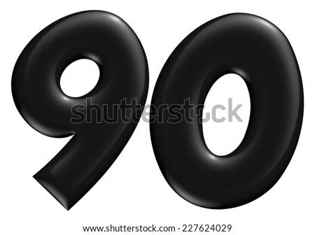 3D 9 & 0 digit later in black on isolated white background. - stock photo