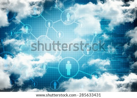 2D Digital Abstract cloud Business Networking background - stock photo