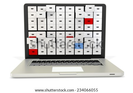 3d digital archive concept, silver metal notebook  on white background - stock photo