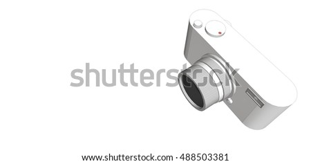 3D digital camera with silver color and retro design on white background.