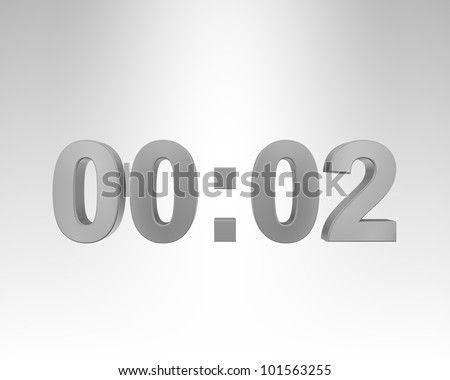 3D digital clock on the gray background - stock photo