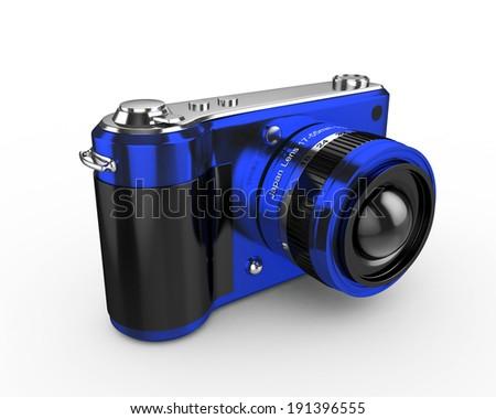 3d Digital Photo Camera (Blue) - isolated - stock photo