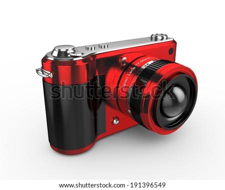 3d Digital Photo Camera - isolated - stock photo