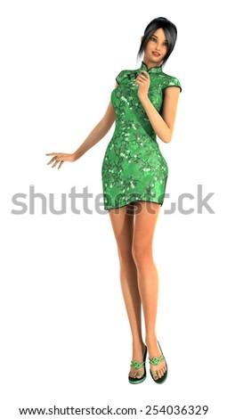 3D digital render of a beautiful Chinese young woman in a traditional green dress isolated on white background - stock photo