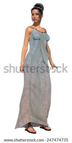 3D digital render of a beautiful fairytale princess isolated on white background,  - stock photo