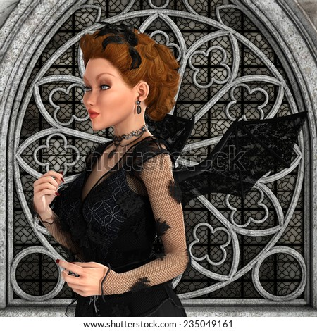 3D digital render of a beautiful fairytale witch on a magical old castle background - stock photo